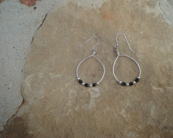 Sterling Silver Hoops with Sterling Silver Beads and Black Swarovski  Beads