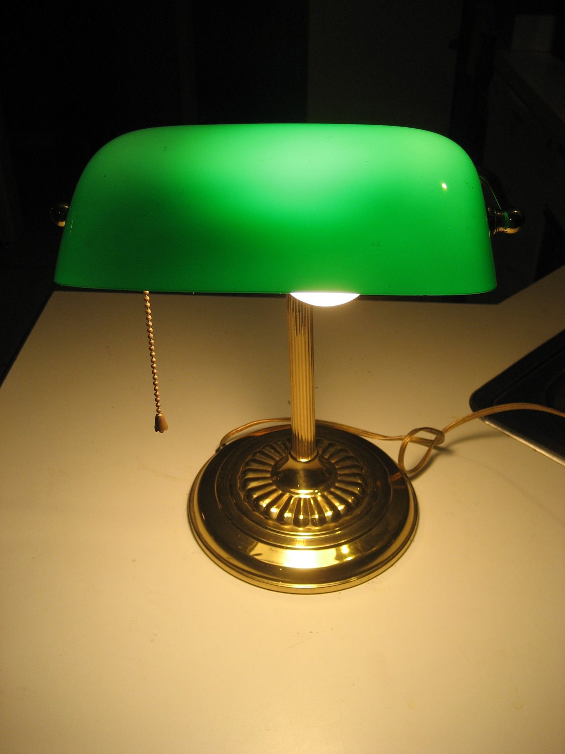 Green bankers lamp - glass shade, traditional design - polished brass