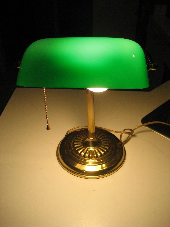 brass bankers lamp with green glass shade vintage desk. Black Bedroom Furniture Sets. Home Design Ideas