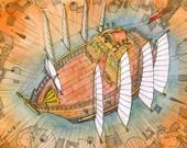 Art illustration print - Atlantis Flying Ship 2 - 7 x 10