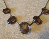 Rhinestone necklace brown and small mid century style. Amber colour