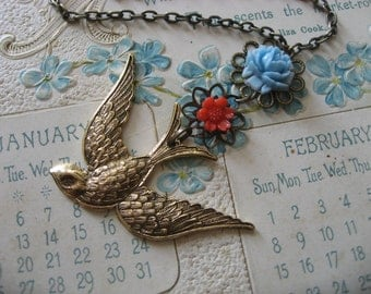 SALE - Dangly flower and flying sparrow necklace