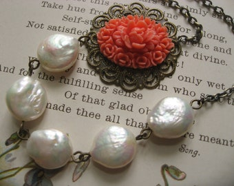 SALE SALE Coral flower and mother pearls necklace