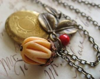 Antiqued brass oval locket acorn leaf nature garden necklace