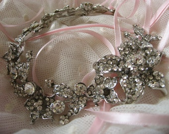 Nature leaf wedding bridal jewelry pink headband tiara Swarovski rhinestone crystals hair comb headband