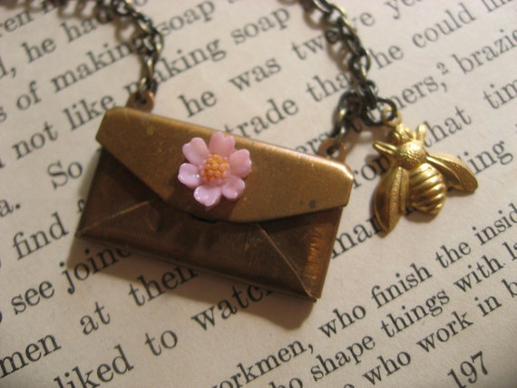 Humble bee pink daisy antiqued brass love letter envelope necklace