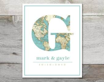 Custom Vintage Map Monogram Print -  8 x 10 - Nursery / Wedding / Housewarming Art