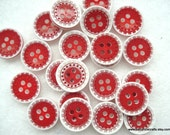 13mm Red and White Resin Buttons Pack of 30 Red Buttons A17 Christmas Buttons