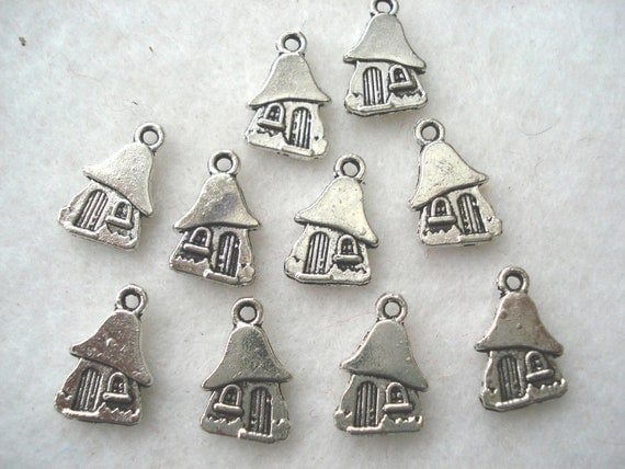 10 Silver Tone Pixie House Fairy House Charms Pendants