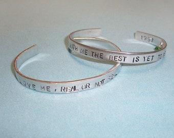 Hand Stamped Custom Cuff Bracelet