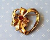 Vintage Avon Birthstone Heart Pin - July, Ruby