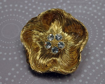 Large Golden Monet Flower Pin w/ Rhinestone Center