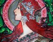 Art Nouveau  Print of Painting Original batik  silk Female portrait /A.Mucha motives/.