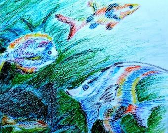 Original wax Crayons Drawing on paper  fish.