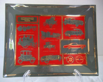 Houze Art Glass Tray - Automobiles Through The Years