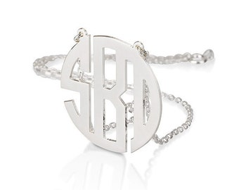 Monogram necklace - 2 inch Personalized Monogram - 925 Sterling silver Block Font