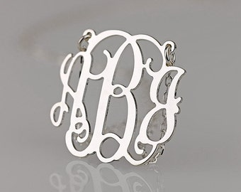 Monogram necklace - 0.8 inch Personalized Monogram - 925 Sterling silver