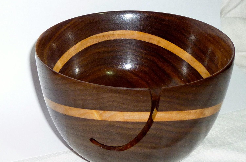 Knitting Bowls Wood : Yarn bowl walnut with curly maple