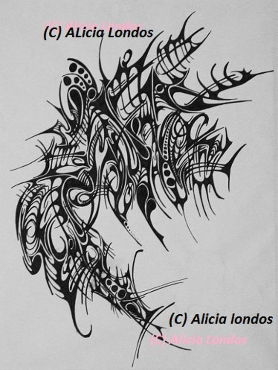 Drawing - Tattoo style inspired design