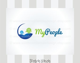 OOAK Premade Logo Design - Blue Green My People - Perfect as a forum branding or for an educational toys shop