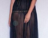 Vintage Black Tiered Ruffle Sheer Long Nightgown Nylon Medium Val Mode