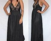 Vintage Black Long Nightgown Lace Bodice Ruffle Hem Nylon