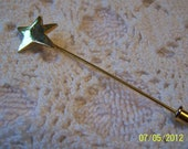 Vintage Star Stickpin-gold plated metal-lop sided star, very whimsical and cute
