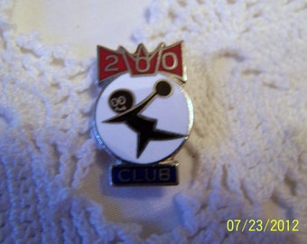 Vintage Pin for Bowling 200-Perfect Score for Bowling-Says 200 Club-Silver Plated metal and enamel