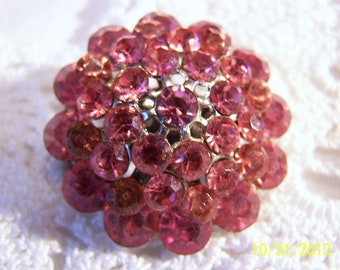 Vintage Pink Crystal Brooch-Looks like a Gorgeous Pink Crystal Flower with Silver Tone Metal