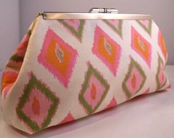 Pink and Orange Ikat Diamond Clutch