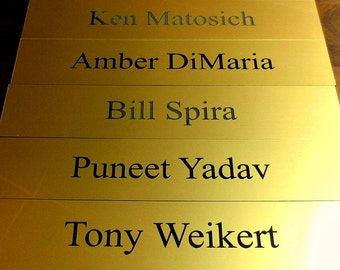 "Office or Cubicle Name Wall Plates - 2"" x 10"" European Gold - Black"