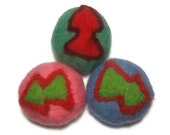 3 felted Xmas tree soaps, set. Soap, scrub and sponge in 1. Christmas gift under 10. - feltinga