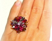 Swarovski Cluster Crystal Ring - Multi-Coloured Adjustable Ring - Beaded Ring - Purple Fuxia Blue Brown Gold