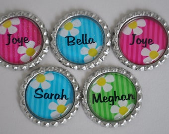 5 Personalized Flower finished bottlecaps, For hairbows, jewelry, magnets, scrapbooks-SET of 5-- daisy,pink, turquoise, lime green