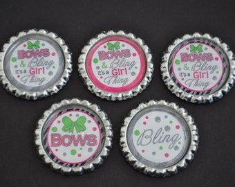 FInished Bows and Bling, its a girl thing GLITTER bottlecaps--- Set of 5---For hairbows, jewelry, magnets, scrapbooks, picture frame