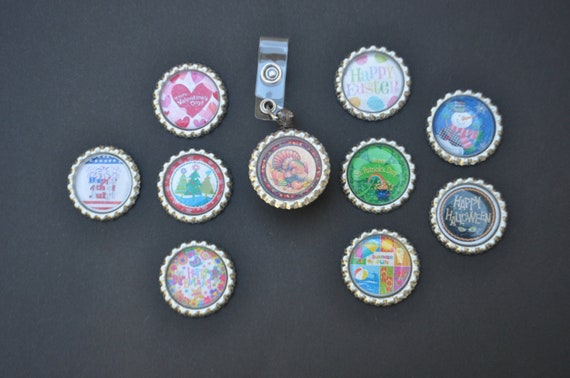 Interchangeable Velcro Badge Reel with 10 interchangeable bottlecaps- christmas, valentines, st patricks day, thanksgiving, Easter, nurse