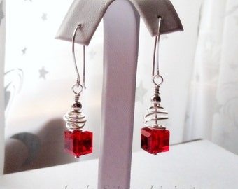 Handcrafted Earrings, Red or Emerald Green Swarovski Crystal Cube and Solid Sterling Silver, Wire Sculpted on Hand Forged Ear Wires