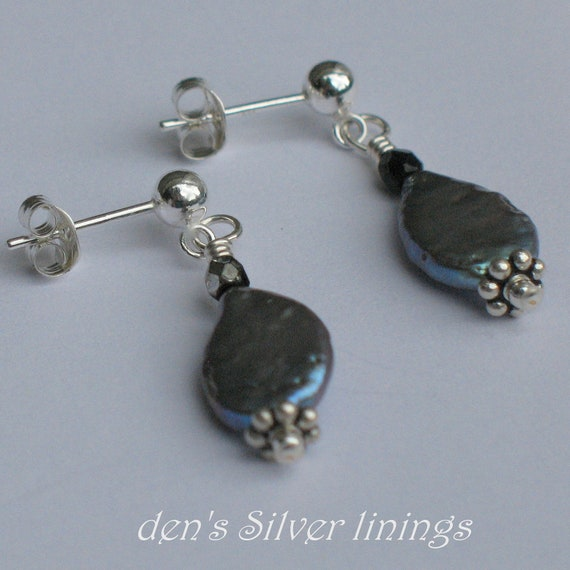 Pearl Earrings, Sterling Silver, Freshwater Coin Pearl and Crystal
