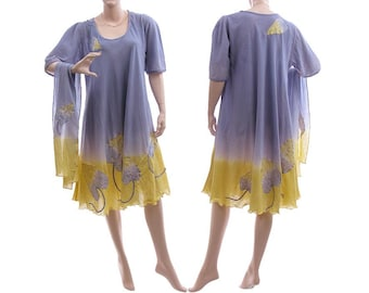 Boho hand dyed purple dress with scarf, summer party dress cotton in purple yellow, art to wear dress plus size women L-XL, US size 14-18