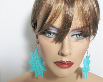 Susan Aqua Crochet Earrings