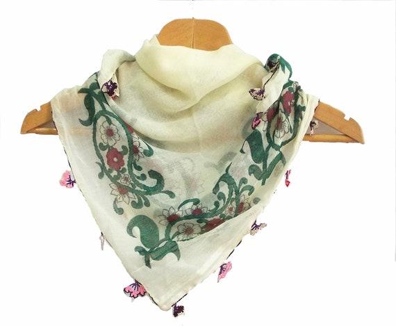 Floral scarf, Square fabric shawl, Embellished with crochet flower, Yemeni, Oya, Authentic, Romantic, Elegant, Viscose fabric shawl