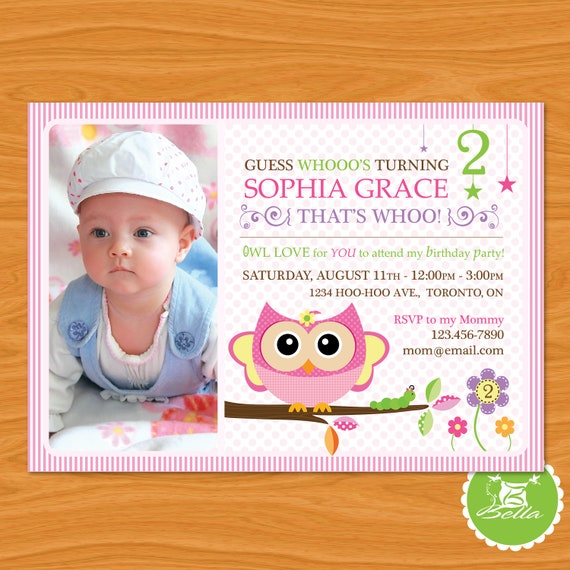 Printable Photo Birthday Party Invitation - Sweet Owl - Look Who's Celebrating a Birthday - Vertical or Horizontal Design