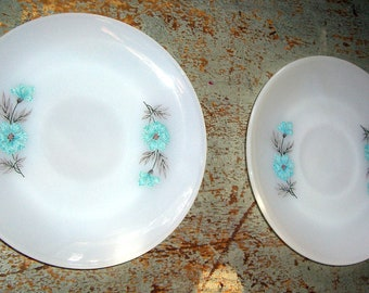 "Vintage Plates, Fire King, Saucers, White, Blue, Corn Flower, Floral,  ""Bonnie Blue"", Bread Plate, Cake Plate"