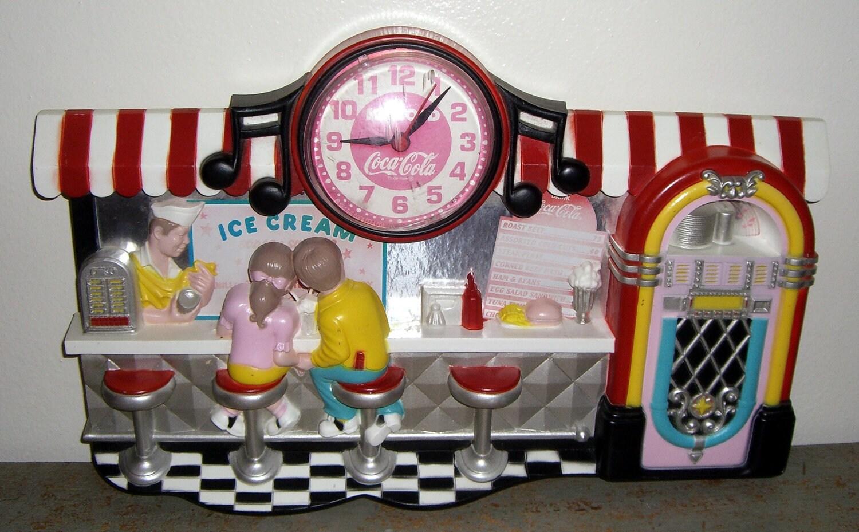 Retro Style Coke Cola Clock 1950 S Diner Ice Cream Shop