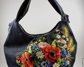 """Hand embroidered jeans bag """"Sunflowers and wildflowers"""" christmas gift, hand embroidery"""