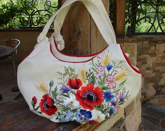 "Hand embroidered bag with flowers ""Field flowers"""