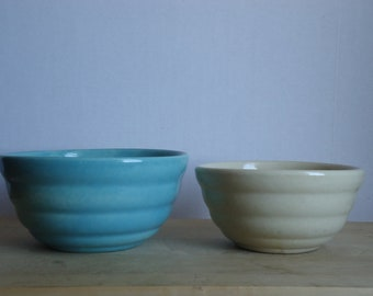 Vintage Blue and Cream Ceramic Nesting Bowls Set of Two