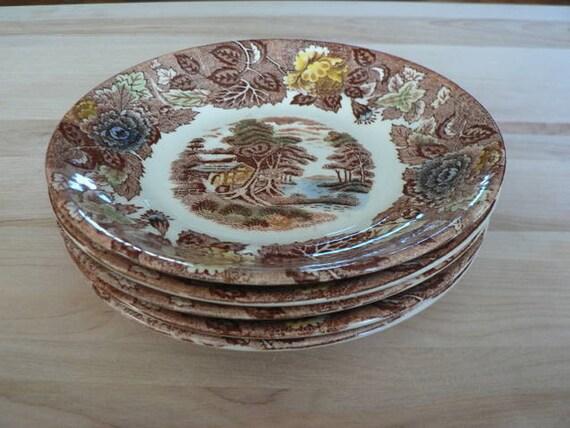 Vintage Nasco Mountain Wood-Land Brown Transfer Ware Plates Set of Five