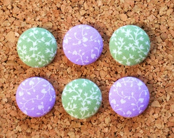 Fabric Button Magnets, Thumbtacks, Lavender and Moss Green, Set of 6