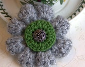 Soft Gray & Chartreuse Green Crochet Flower Brooch Pin with choice of charming center piece